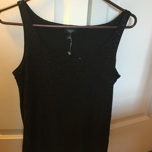 Talbots Black Sequin Sparkle Tank Top Small - NWT